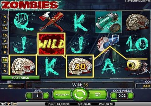 Выигрышная комбинация символов в автомате Zombies