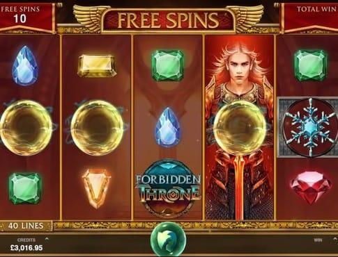 Выпадение фриспинов в игровом аппарате Forbidden Throne