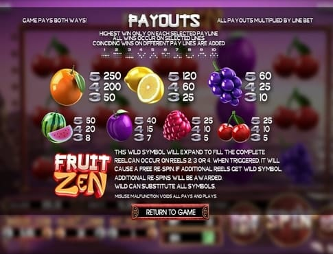 Выплаты за символы в игровом аппарате Fruit Zen