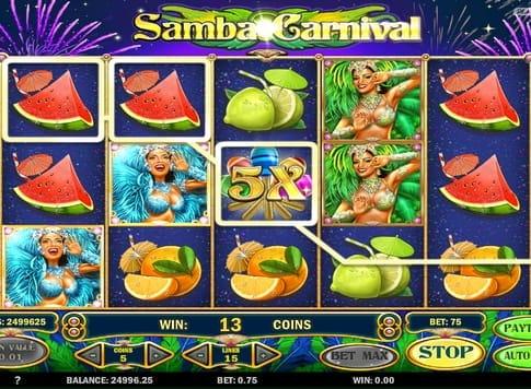 Призовая последовательность в игровом аппарате Samba Carnival