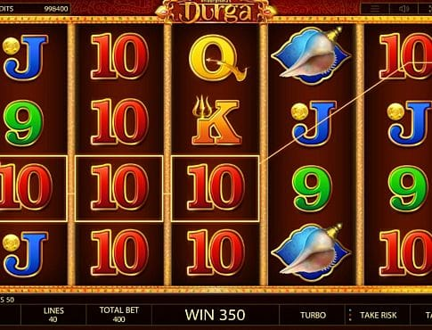 Призовая комбинация символов в игровом автомате Durga