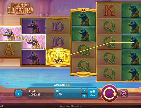 Призовая комбинация на линии в игровом втомате Legend of Cleopatra