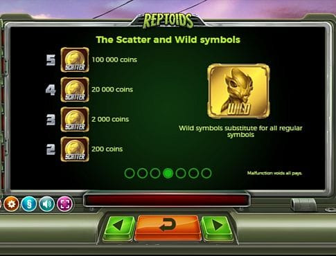 Wild и Scatter в слоте Reptoids
